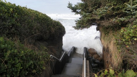 Waves crashing north stairs at Tillicum Campground