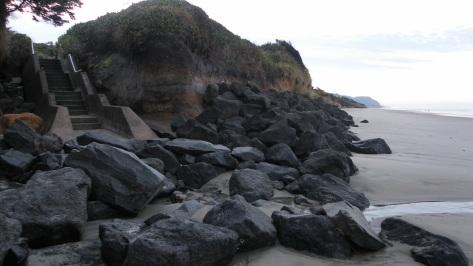 Change in sand level at north stairway of Tillicum Campground