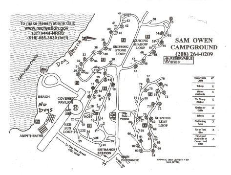 Sam Owen Campground Map