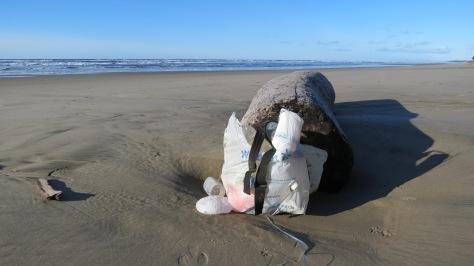 Styrofoam and plastic bottles