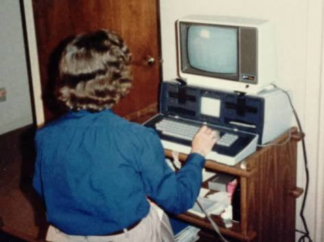 Mom with her Osborne Computer