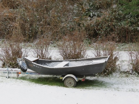 driftboat in snow